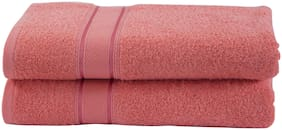 Maspar 500 GSM Cotton Pink Large Bath Towel (Pack of 2)