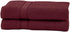 Maspar 500 GSM Cotton Red Large Bath Towel (Pack of 2)