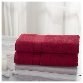 Maspar 500 GSM Cotton Bath towel ( 2 pieces , Maroon )
