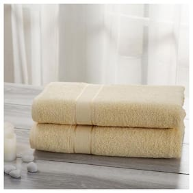 Maspar 500 GSM Cotton Bath towel ( 2 pieces , Yellow )