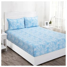 Maspar Cotton Abstract Double Bedsheet ( 1 Bedsheet with 2 Pillow Covers , Blue )