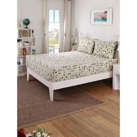 Maspar Aqua Breeze Green King Bed Sheet with 2 Pillow Covers (3 Pc)