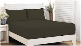 Maspar Cotton Solid King Bedsheet ( 1 Bedsheet With 2 Pillow Covers , Brown )