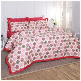 Maspar Carnival Prime Bounty Print Red 8 Pieces Double Quilt Set