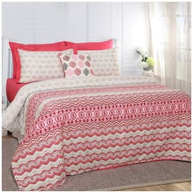Maspar Carnival Prime Myriad Print Red 8 Pieces King Duvet Cover Set