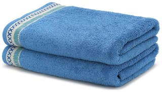 Maspar 550 GSM Cotton Hand towel ( 2 pieces , Blue )