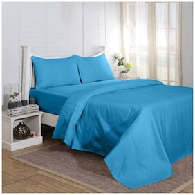 Maspar Carnival Prime Blue King Bed Sheet with 2 Pillow Covers (3 Pc)