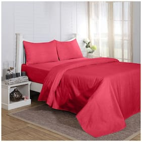 Maspar Carnival Prime Red King Bed Sheet With 2 Pillow Covers (3 Pc)