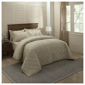 Maspar Poly cotton Modern Single Size Quilt Beige