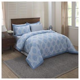 Maspar Poly cotton Geometric Double Size Quilt Blue