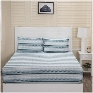 Maspar Cotton Striped Double Bedsheet ( 1 Bedsheet With 2 Pillow Covers , Blue & White )