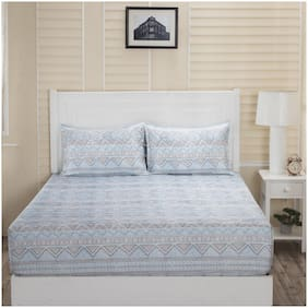 Maspar Cotton Printed Double Bedsheet ( 1 Bedsheet with 2 Pillow Covers , Blue )
