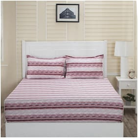Maspar Cotton Striped Double Size Bedsheet 210 TC ( 1 Bedsheet With 2 Pillow Covers , Pink & White )