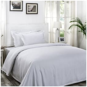 Maspar Cotton Solid King Size Bedsheet 300 TC ( 1 Bedsheet With 2 Pillow Covers , White )