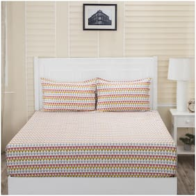Maspar Cotton Non Fitted Double Bed sheet with 2 Pillow Covers