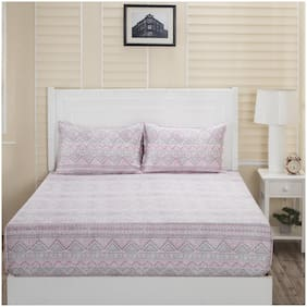 Maspar Cotton Printed Double Bedsheet ( 1 Bedsheet With 2 Pillow Covers , Pink )