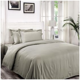 Maspar Cotton Solid King Size Bedsheet 300 TC ( 1 Bedsheet With 2 Pillow Covers , Grey )