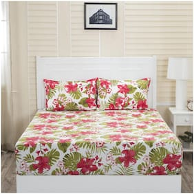 Maspar Double Cotton Floral 1 Bedsheet with 2 Pillow Covers
