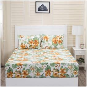 Maspar Cotton Floral Double Bedsheet ( 1 Bedsheet with 2 Pillow Covers , Multi )