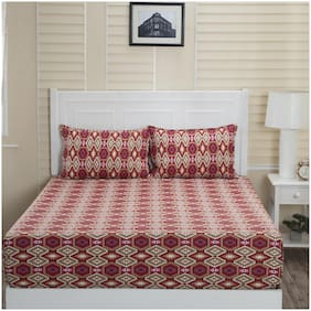 Maspar Cotton Abstract Double Bedsheet ( 1 Bedsheet with 2 Pillow Covers , Red )