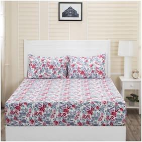 Maspar Double Cotton Floral 1 Bedsheet with 2 Pillow Covers