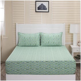Maspar Cotton Abstract Double Bedsheet ( 1 Bedsheet With 2 Pillow Covers , Green )