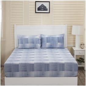 Maspar Cotton Checkered Double Bedsheet ( 1 Bedsheet with 2 Pillow Covers , Blue )