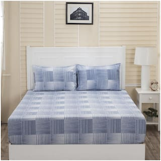Maspar Cotton Checkered Double Size Bedsheet 144 TC ( 1 Bedsheet With 2 Pillow Covers , Blue )