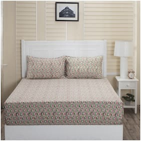 Maspar Cotton Abstract Double Size Bedsheet 144 TC ( 1 Bedsheet With 2 Pillow Covers , Multi )