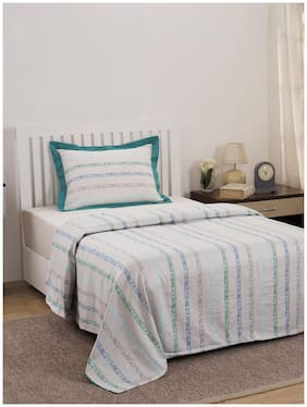 Maspar Eclectic Treasures Ruffle Stripe 210 TC  1 Single Duvet Cover with 1 Pillow Cover