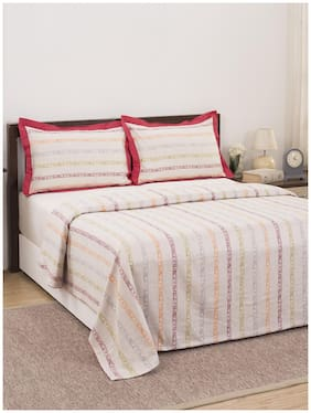 Maspar Eclectic Treasures Ruffle Stripe 210 TC  1 Double Duvet Cover with 2 Pillow Covers