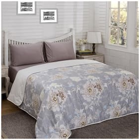 Maspar Poly cotton Floral Double Size Quilt Grey