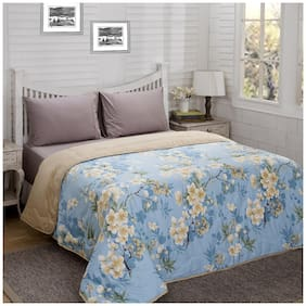 Maspar Poly cotton Floral Double Size Quilt Blue