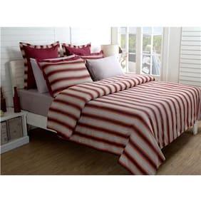 Maspar Festive Solace Red Double Duvet Cover With Pillow Cases (3 Pc)