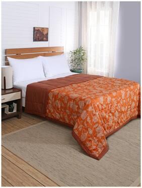 Maspar Cotton Abstract Double Size Quilt Orange