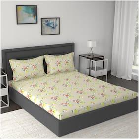 Maspar Cotton Floral Double Size Bedsheet 210 TC ( 1 Bedsheet With 2 Pillow Covers , Beige )