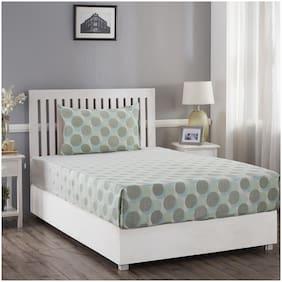 Maspar Cotton Geometric Single Size Bedsheet 210 TC ( 1 Bedsheet With 1 Pillow Covers , Green )