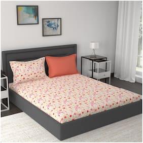 Maspar Cotton Floral King Size Bedsheet 210 TC ( 1 Bedsheet With 2 Pillow Covers , Multi )