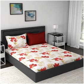 Maspar Cotton Floral King Size Bedsheet 210 TC ( 1 Bedsheet With 2 Pillow Covers , Red )