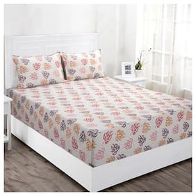 Maspar Floral 144 TC Superfine Cotton Double Bedsheet With 2 Pillow Covers