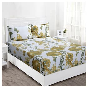 Maspar 210 TC Floral Flat Double Bedsheet ( Yellow & White , Pack of 3 )