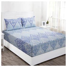Maspar Cotton Floral Double Size Bedsheet 144 TC ( 1 Bedsheet With 2 Pillow Covers , Blue )