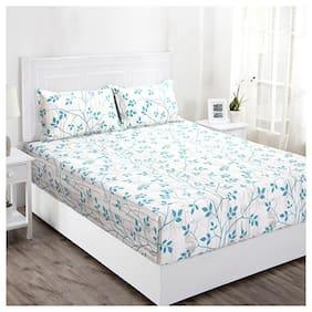 Maspar Floral 144 TC Superfine Cotton Double Bedsheet With 2 Pillow Covers