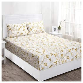 Maspar Cotton Floral Double Size Bedsheet 144 TC ( 1 Bedsheet With 2 Pillow Covers , White & Yellow )