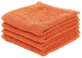 Maspar 550 GSM Cotton Face towel ( 4 pieces , Orange )