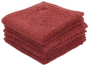 Maspar Embedded Stripe Bordeaux Face Towel Set Of 4 (4 pc)