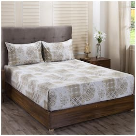 Maspar Cotton Abstract King Size Bedsheet 400 TC ( 1 Bedsheet With 2 Pillow Covers , Golden )