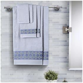 Maspar 550 GSM Cotton Bath towel ( 6 pieces , Blue )