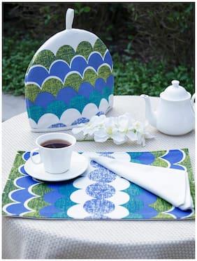 Maspar Blue Generic Table Linen Set  (Pack of 8)
