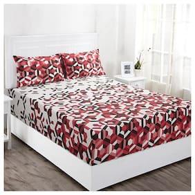 Maspar 144 TC Geometric Flat Double Bedsheet ( Multi , Pack of 3 )